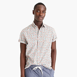 Short-sleeve stretch Secret Wash shirt in white floral