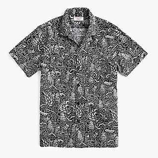 Wallace & Barnes camp-collar shirt in dobby scribble print