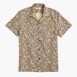 Wallace & Barnes camp-collar shirt in dobby berry branches