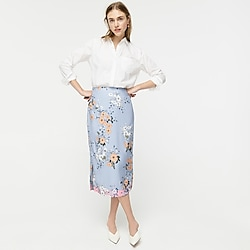 Midi slip skirt in grid floral