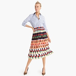 Petite pleated midi skirt in art deco print