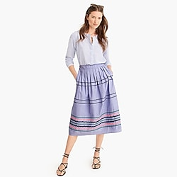 Tall rickrack trim skirt in cotton poplin