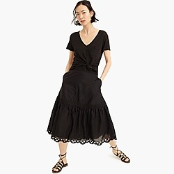 Tall midi skirt with eyelet trim in organic cotton