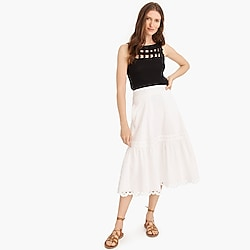 Petite midi skirt with eyelet trim in organic cotton
