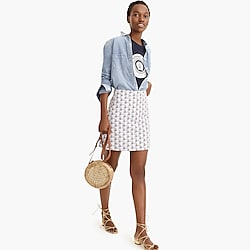 Petite Point Sur printed mini skirt in stretch grasscloth