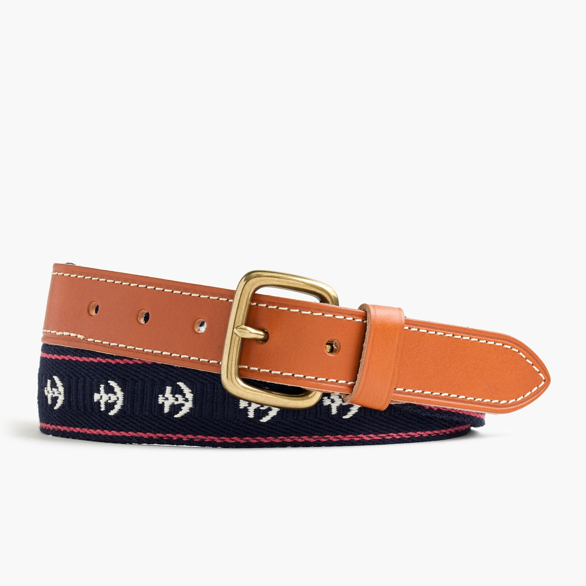 mens Leather belt with anchor embroidery