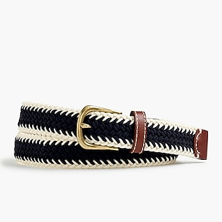 Elastic woven belt in stripe