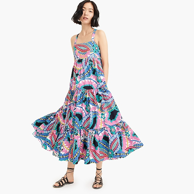 fd08b48f222 j.crew: apron maxi dress in ratti® kaleidoscope floral, right side,