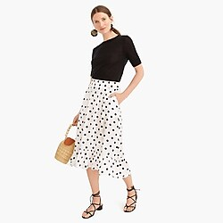 Pull-on midi skirt in polka dot