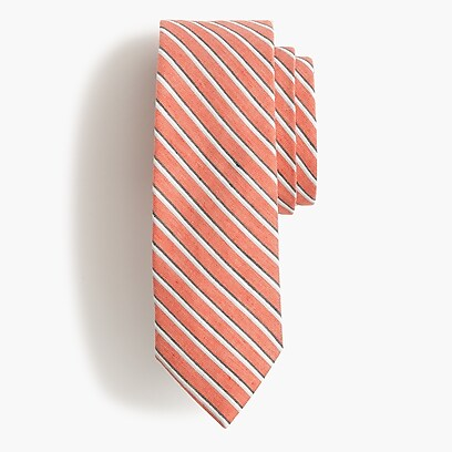 a477967a9b25 Ludlow cotton tie in varsity orange stripe